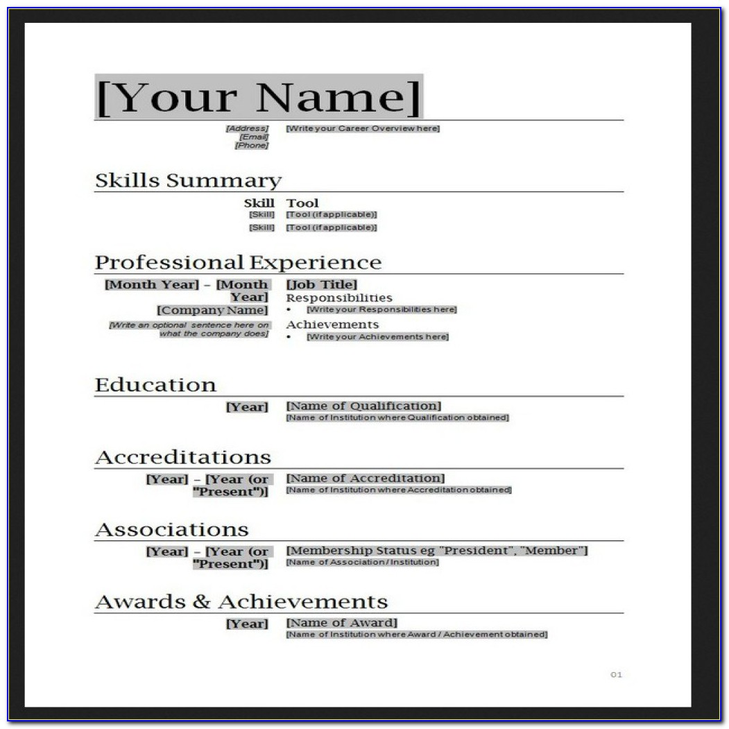 Free Resume Templates No Job Experience