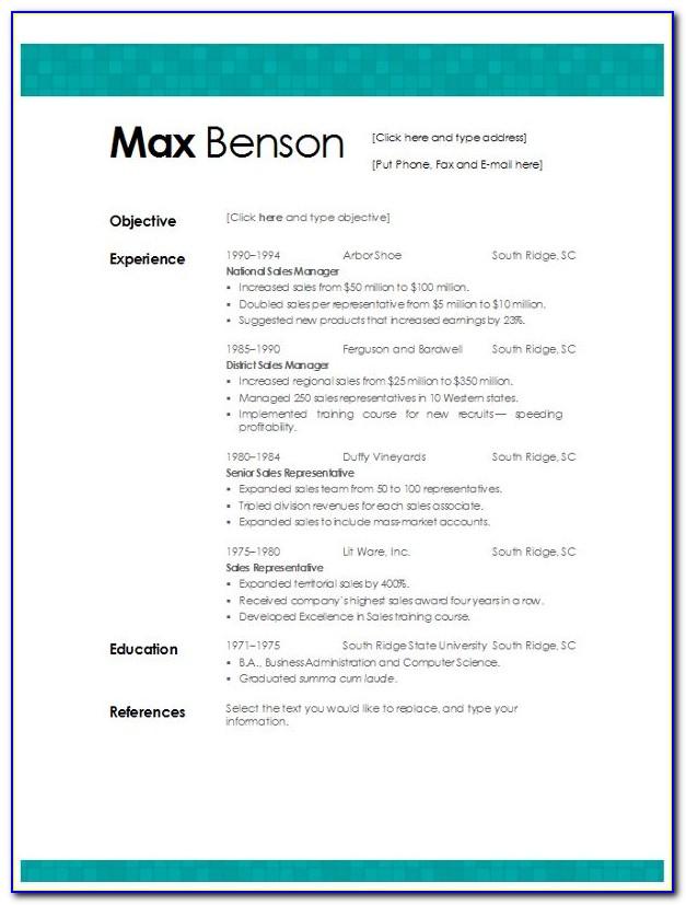 Free Resume Templates Windows 8