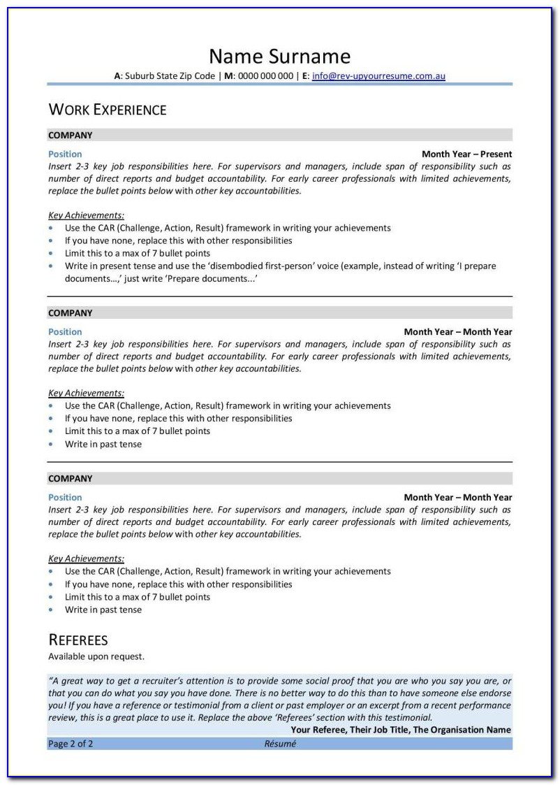Free Resume Templates Word 2003