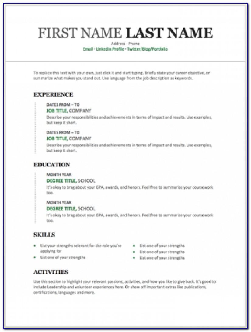 Free Resume Templates Word Modern