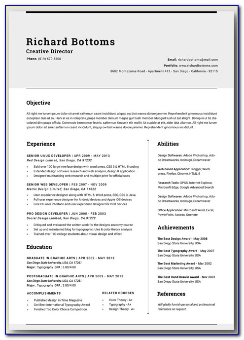 Free Resume Word Templates Download