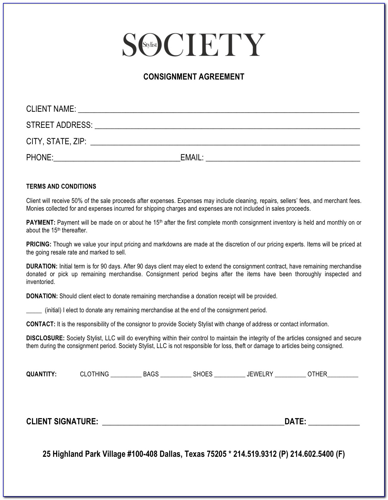 Free Retail Consignment Agreement Template