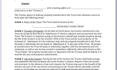 Free Revocable Living Trust Amendment Forms