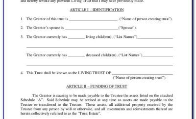 Free Revocable Living Trust Forms