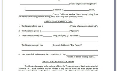 Free Revocable Living Trust Forms California