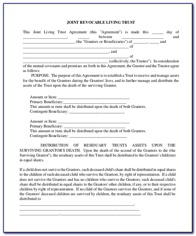 Free Revocable Living Trust Forms Florida