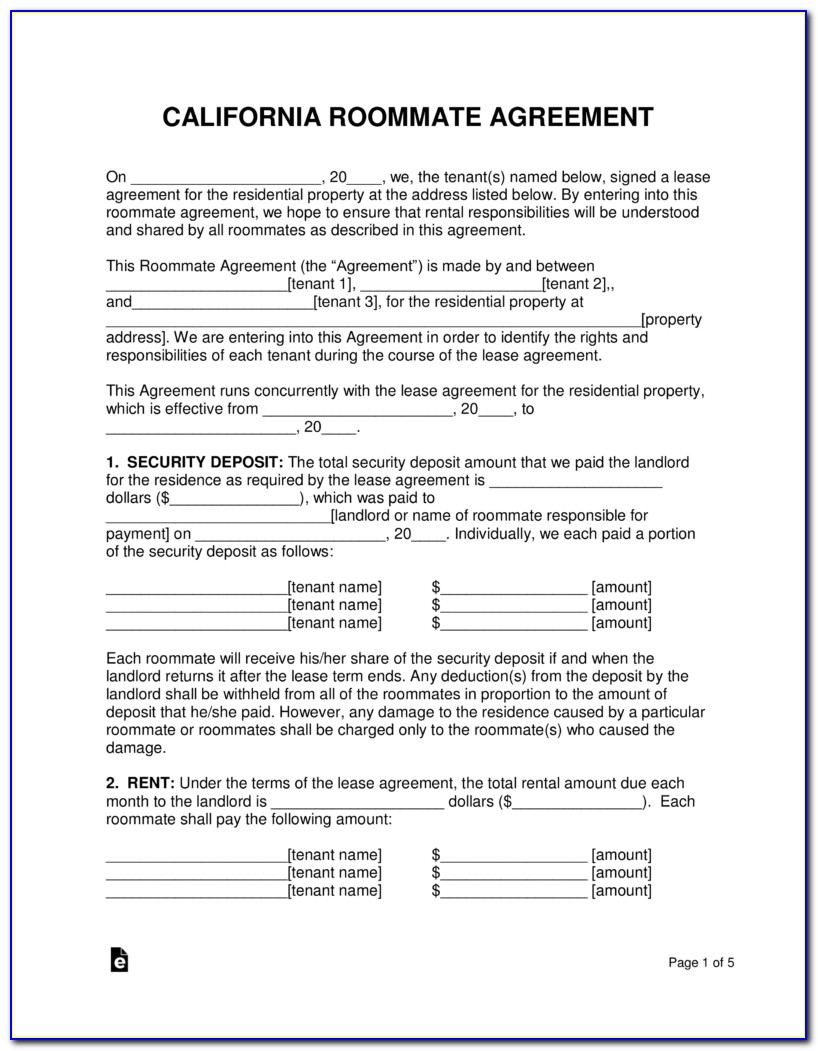 Free Roommate Agreement Form California