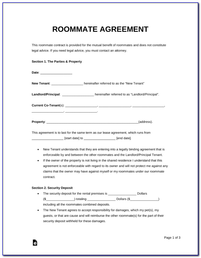 Free Roommate Rental Agreement Template