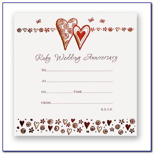 Free Ruby Anniversary Invitation Templates