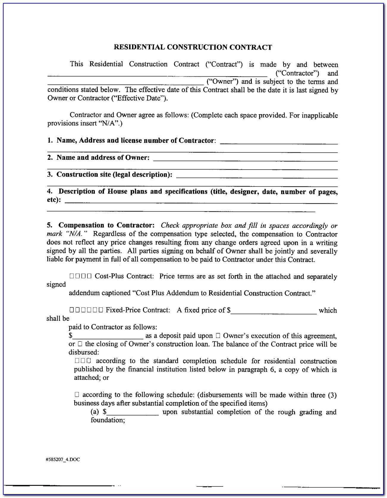Free Sample Contract Agreement Borrowing Money