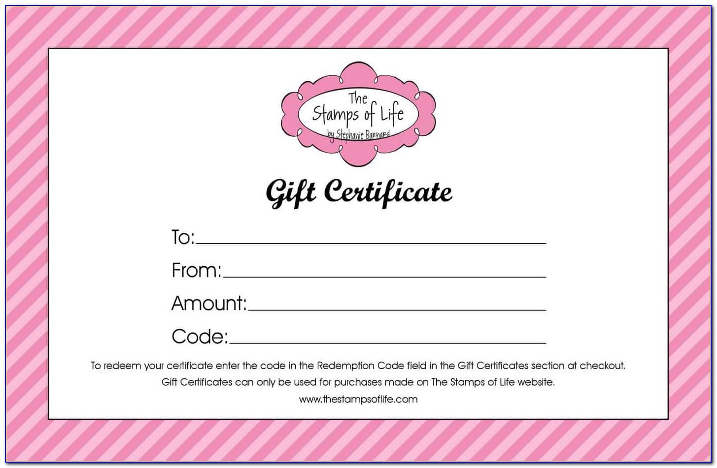Free Sample Gift Certificates Printable