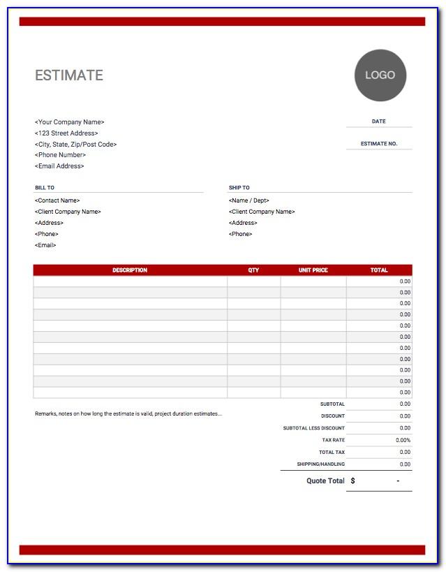 Free Sample Job Estimate Forms