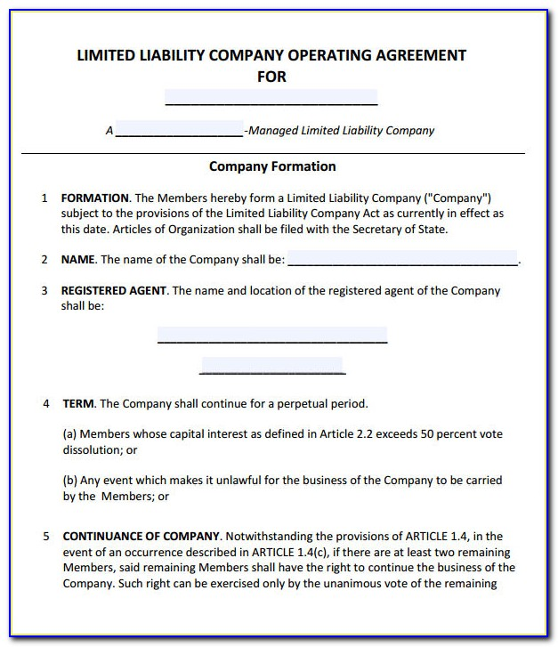 Free Sample Llc Operating Agreement Template
