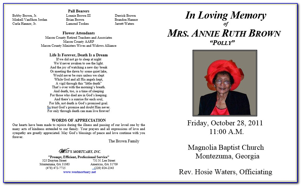 Free Sample Obituary Format
