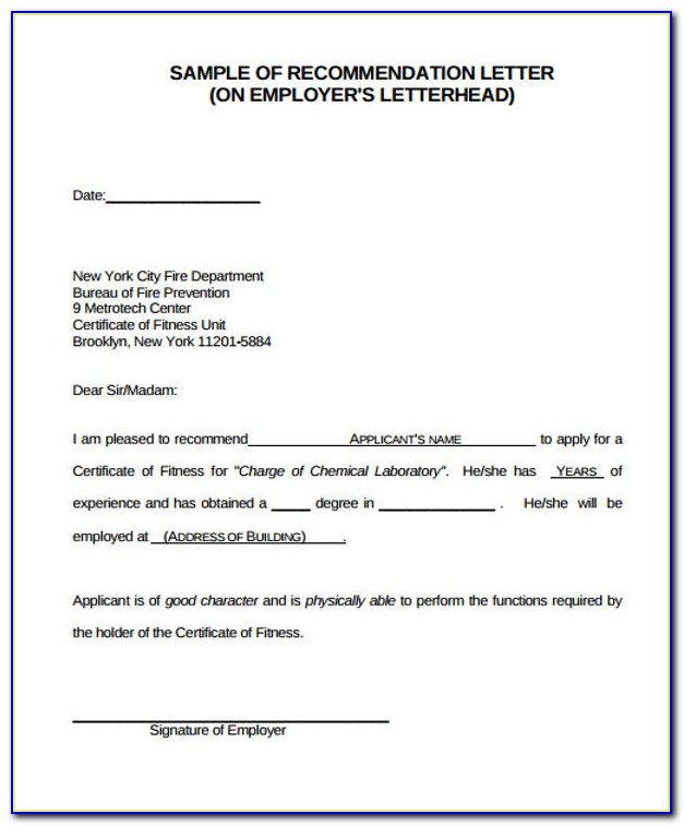 Free Sample Reference Letter From Employer
