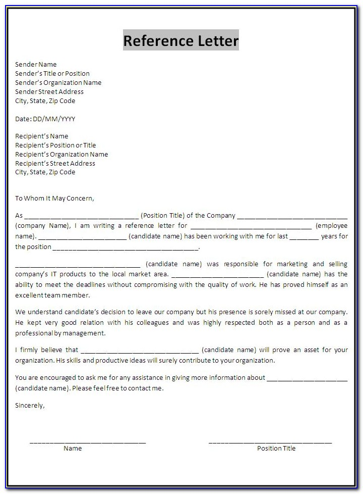 Free Sample Reference Letter Template