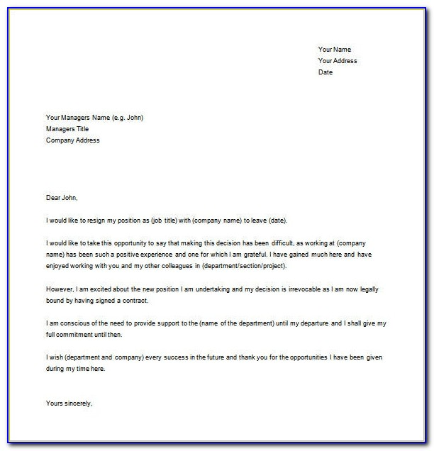 Free Sample Resignation Letter Format In Word