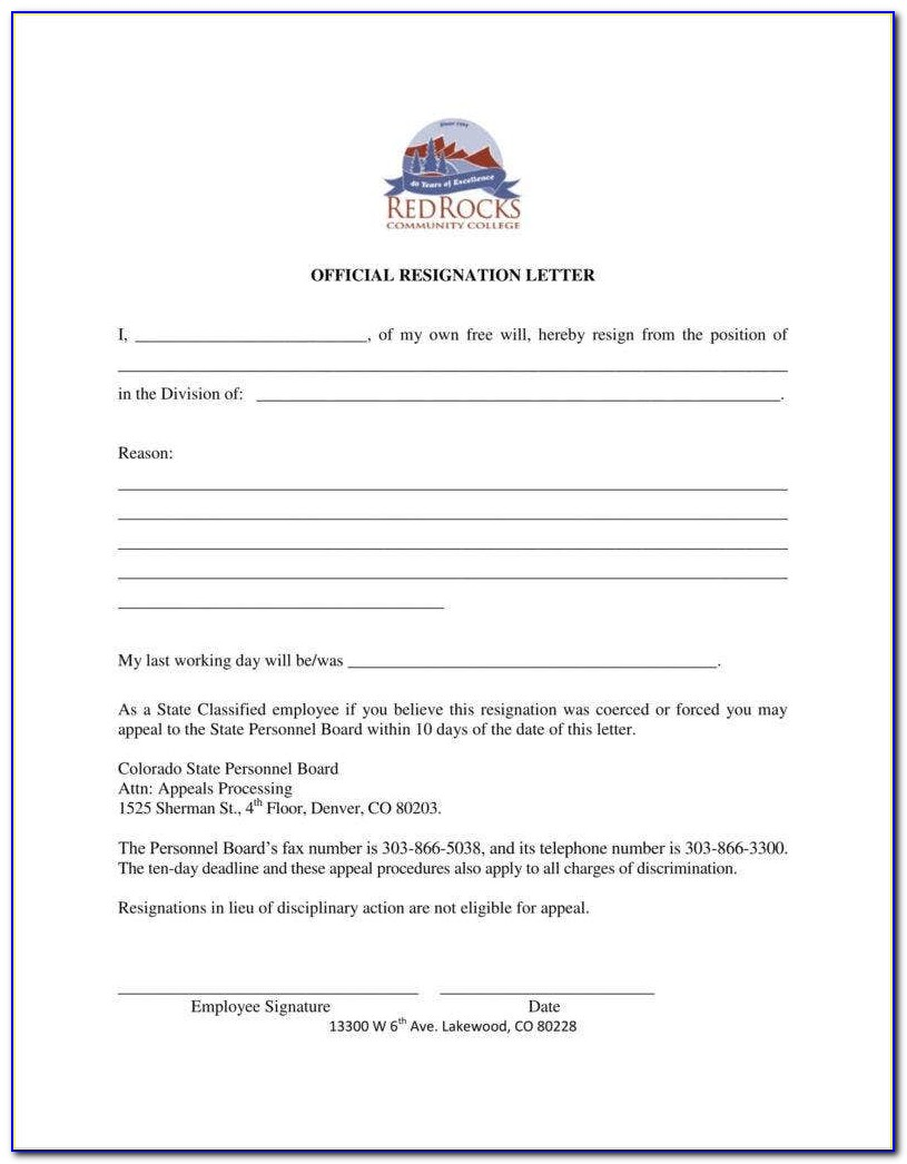 Free Sample Resignation Letter Template