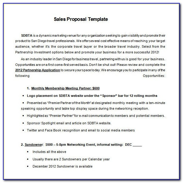 Free Sample Sponsorship Proposal Template