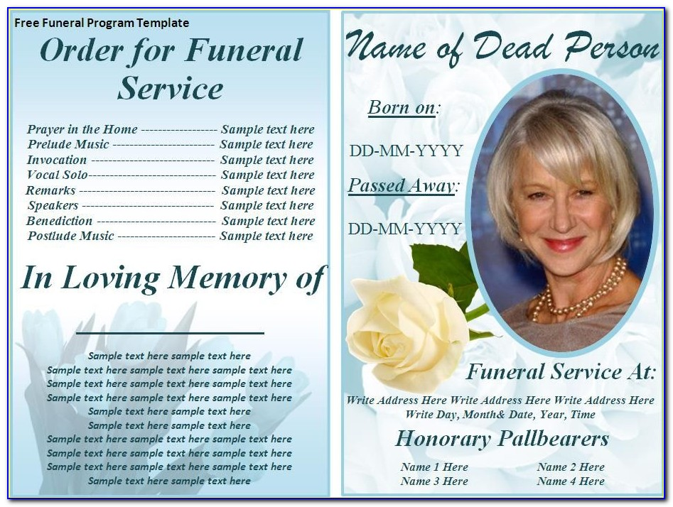 Free Samples Of Funeral Service Programs
