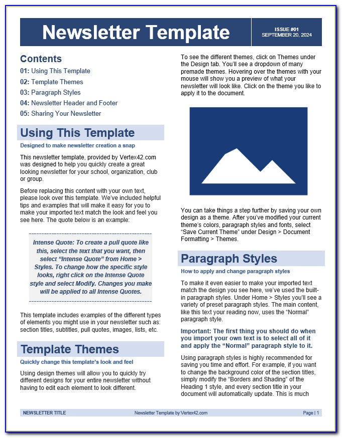 Free School Newsletter Templates Elementary