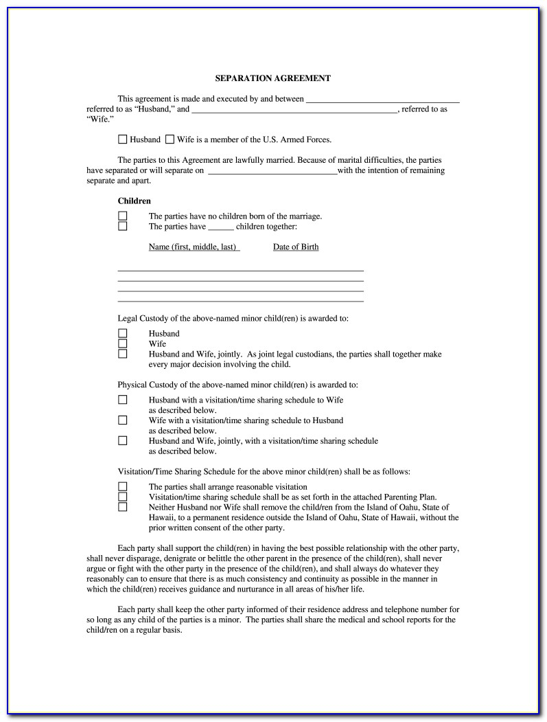 Free Separation Agreement Template Canada