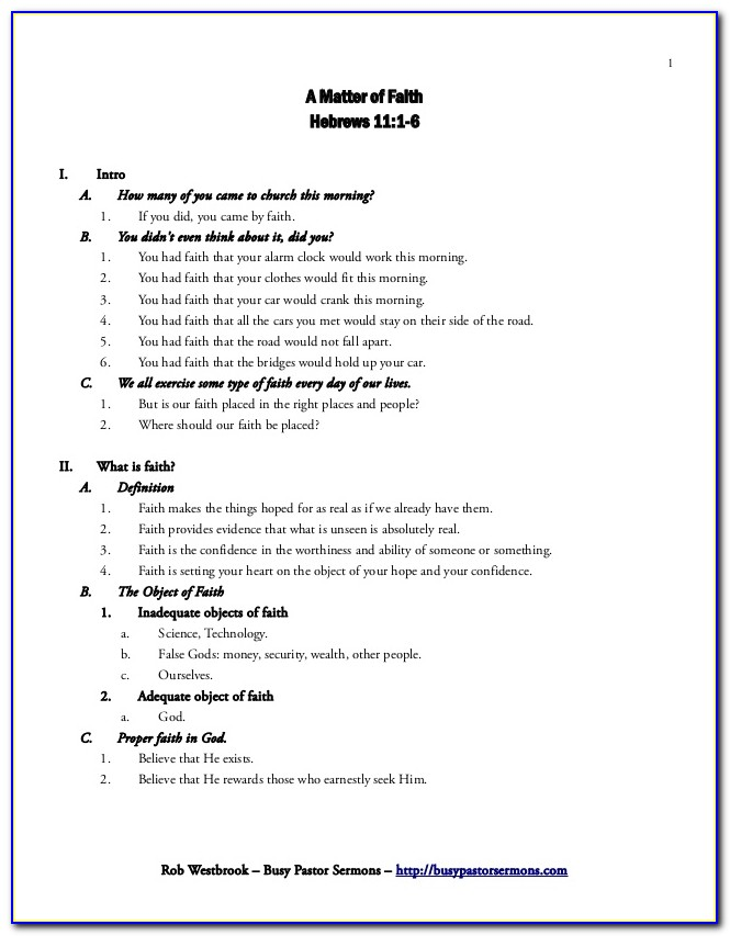 Free Sermon Outline Template