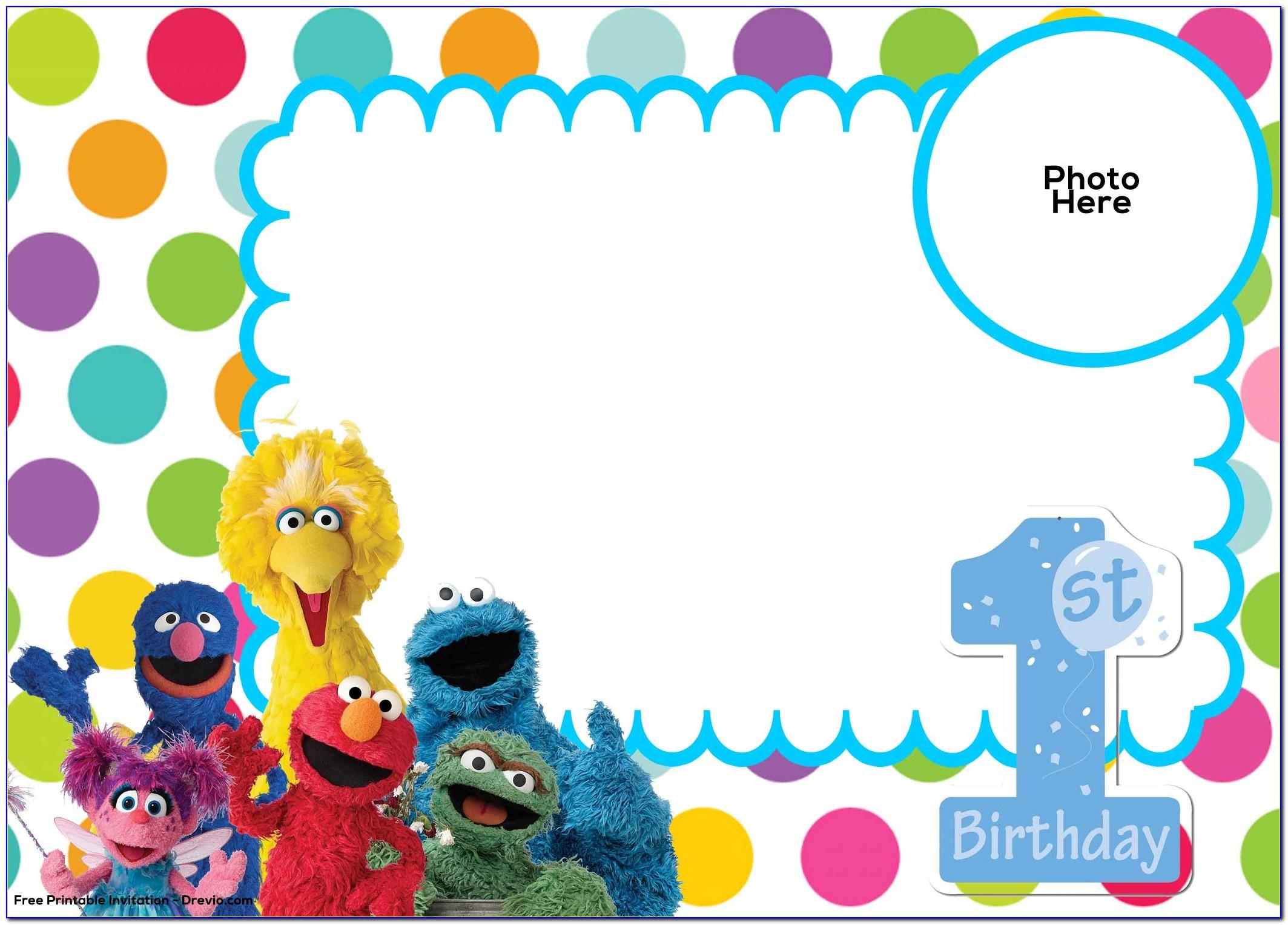 Free Sesame Street Birthday Invitation Templates