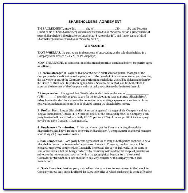 Free Shareholder Agreement Form