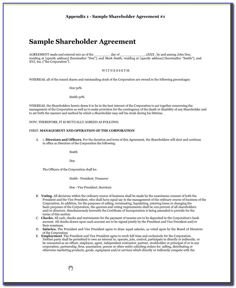 Free Shareholder Agreement Template Australia