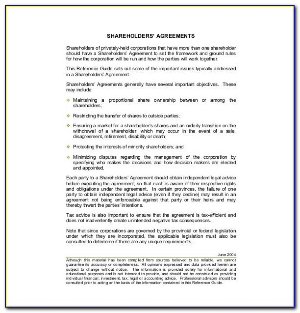 Free Shareholder Agreement Template Uk