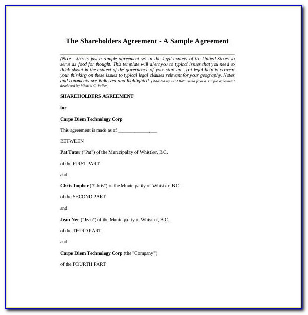 Free Shareholder Agreement Template