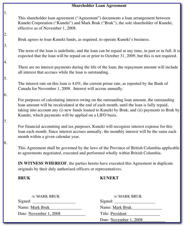 Free Shareholder Loan Agreement Template