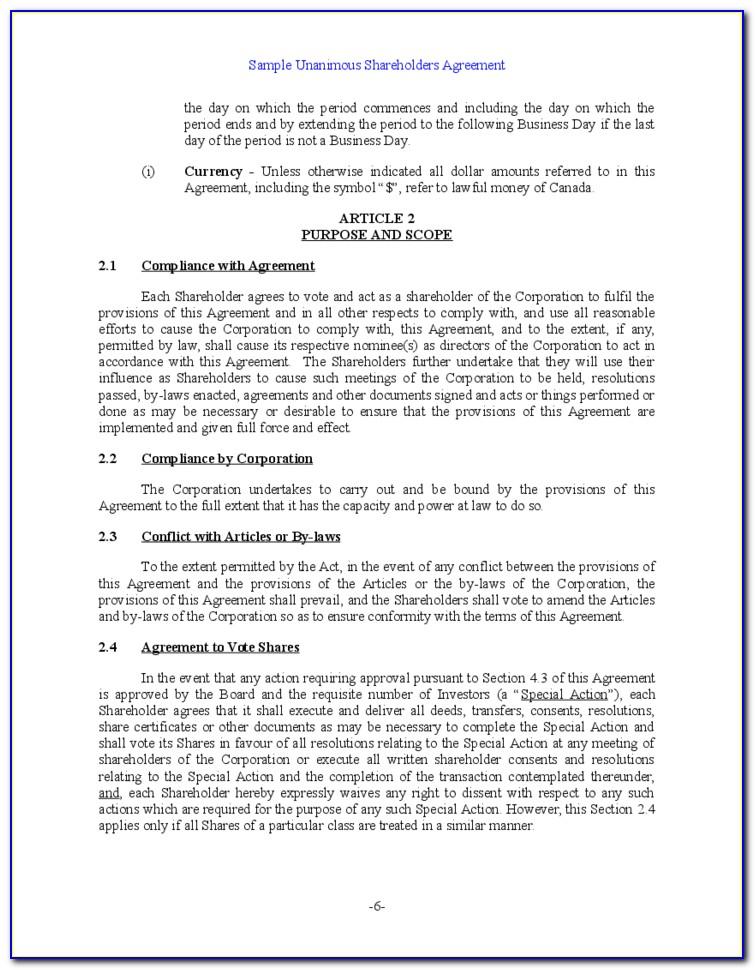 Free Shareholders Agreement Template Nz