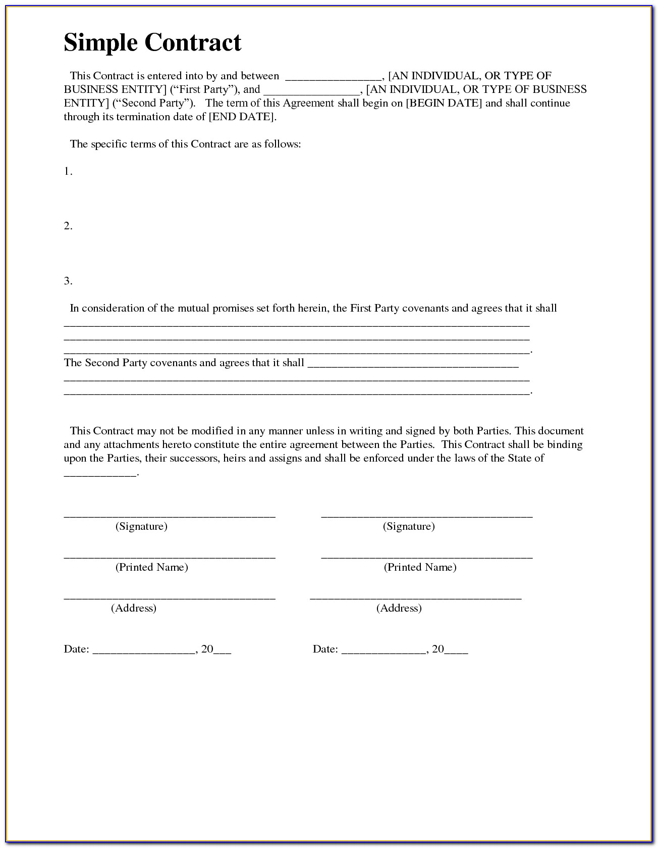 Free Simple Contract Example