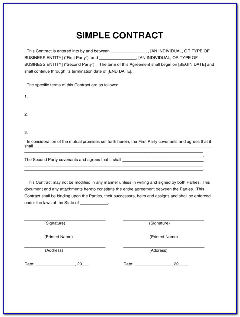 Free Simple Contract Form