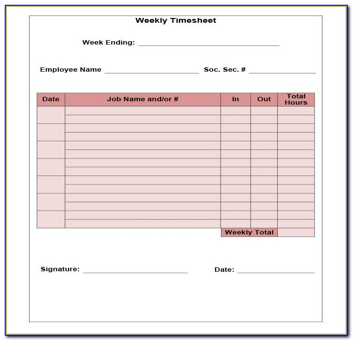 Free Simple Timesheet Template Excel