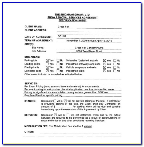 Free Snow Plowing Contract Templates