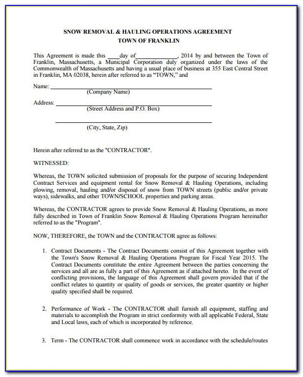 Free Snow Plowing Contracts Templates