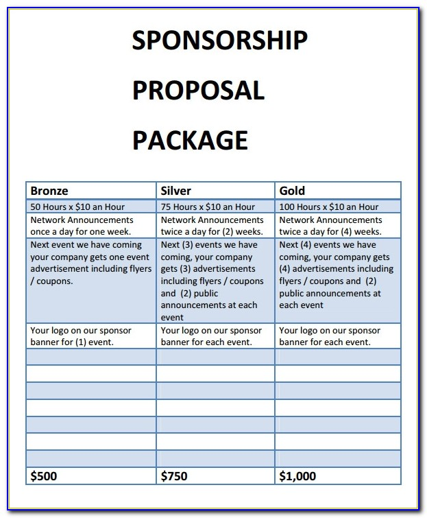 Free Sponsorship Proposal Templates