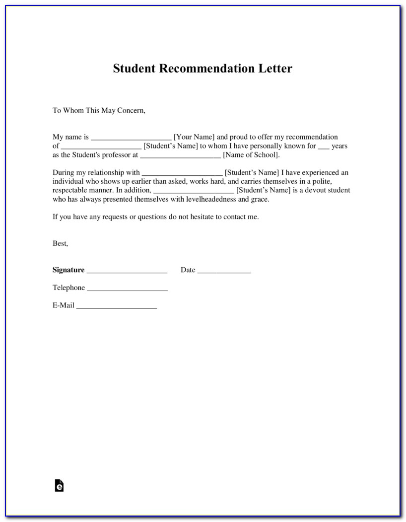 Free Student Letter Of Recommendation Template