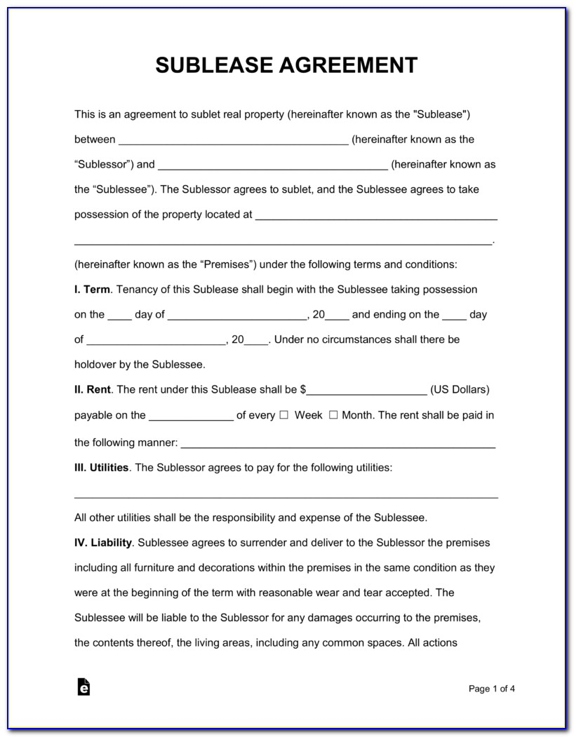 Free Sublease Agreement Template Word