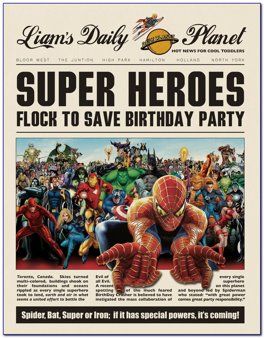 Free Superhero Newspaper Invitation Template