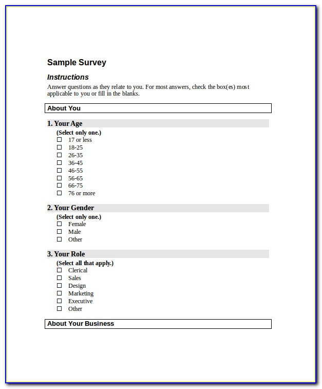 Free Survey Template Word 2010