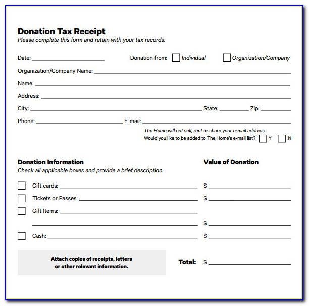 Free Tax Donation Receipt Template