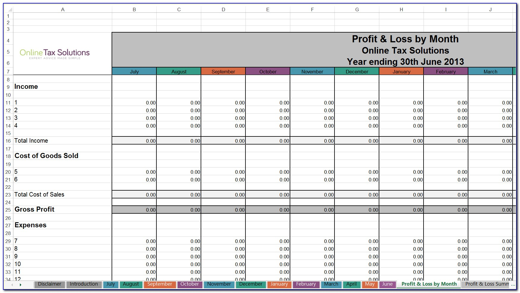 Free Tax Spreadsheet Excel Template
