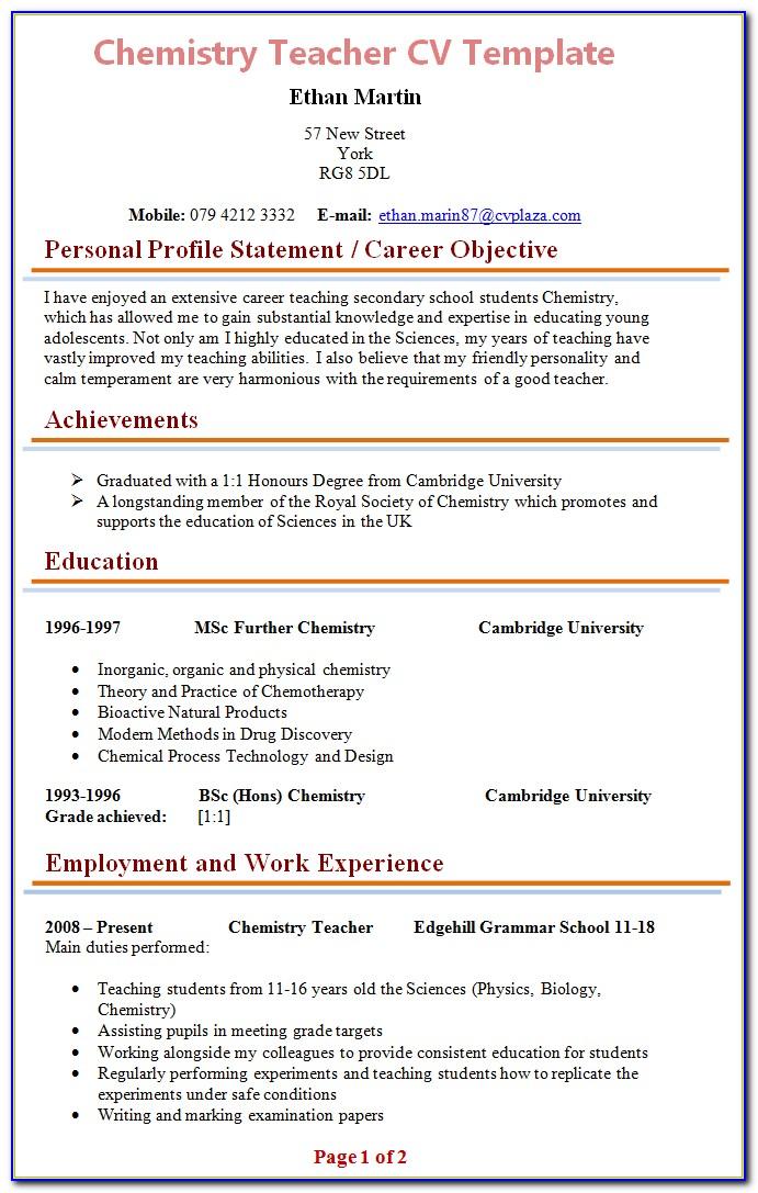 Free Teacher Cv Template Uk
