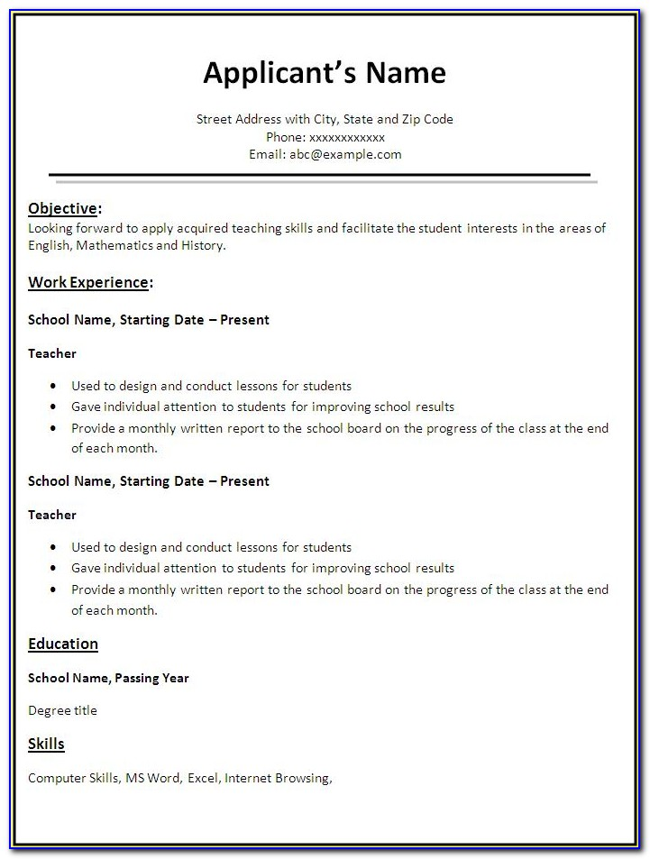 Free Teacher Resume Template Word