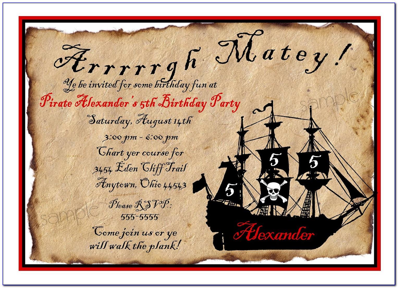 Free Template Birthday Invitation Pirate