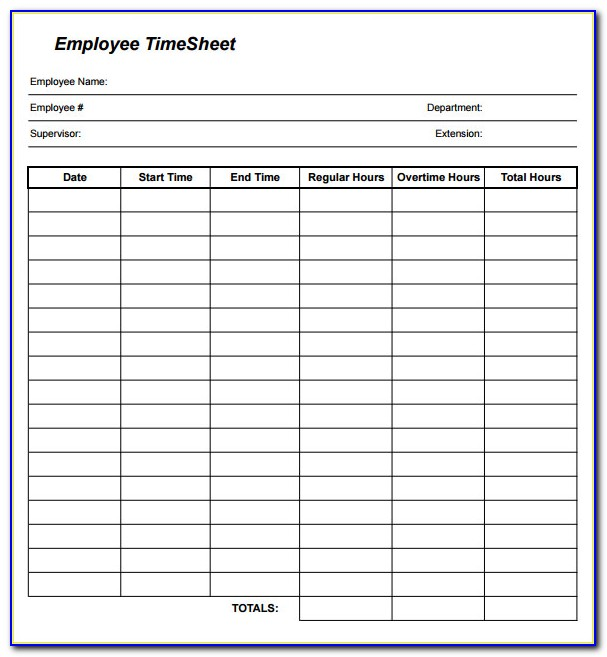 Free Template For Time Sheets